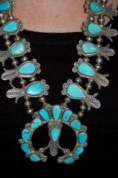 Beautiful old Navajo turquoise squash blossom by navajodreams, $2740.00