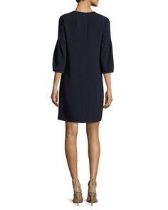 TQEQ7 Burberry Keyhole-Front Puff-Sleeve Dress