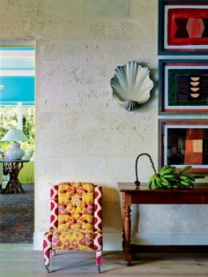 House tour: inside designer Kit Kemp& vividly coloured Barbados home : Sea shell sconces hang on the coral stone walls. Decor, Wall Lights, Stone Wall, Vogue Living, Stone Interior, Interior, Beautiful Interiors, Home Decor, Interior Design