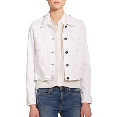 McGuire Agnelli Distressed Denim Jacket ($190) ❤ liked on Polyvore featuring outerwear, jackets, apparel & accessories, pretty much everything, vintage jacket, long sleeve crop jacket, distressed denim jacket, white jacket und distressed jacket