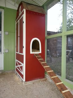 """Our chicken coop """"barn"""" made from an old armoire."""