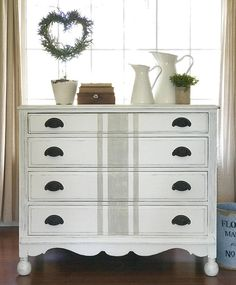 Apr 2020 - Farmhouse Painted & Distressed White Dresser with Grain Sack Paint Furniture, Furniture Projects, Furniture Making, Furniture Makeover, Bedroom Furniture, Furniture Inspiration, Repurposed Furniture, Decoration, Shabby Chic