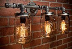 Tarro de masón luminaria  Industrial  luz  luz rústico  por TMGDZN