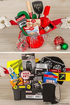 Dollar Tree Gift Basket Guide - Farm Girl Reformed - Dollar Tree gift basket guide-don't forget Dollar Tree in your holiday shopping-there's a gift - Creative Gift Baskets, Gift Baskets For Men, Themed Gift Baskets, Gift Basket Themes, Cheap Gift Baskets, Candy Gift Baskets, Basket Gift, Christmas Gift Baskets, Homemade Christmas Gifts