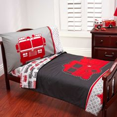 Carter's, fire truck 4 piece toddler bed set includes: quilted bedspread, fitted bottom sheet, flat top sheet and standard size pillowcase. Truck Toddler Bed, Diy Toddler Bed, Toddler Bed Sheets, Toddler Rooms, Big Boy Bedrooms, Kids Bedroom, Bedroom Ideas, Nursery Ideas, Firefighter Bedroom