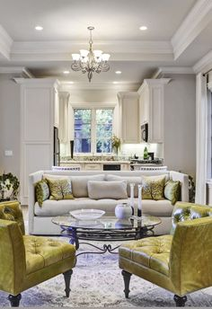 Cozy beige and apple green living room decor with tuxedo sofa and green leather corner chairs #realestate #beautifulhouse #homesweethome #transitionallivingroom #luxurylivingroom #whitelivingroom #restorationhardware #luxurydecor #luxuryhome #dreamlivingroom #modernfarmhouse #transitionalstyle #modernstyle #artdecodecor #glamourdecor Glamour Decor, Living Room Decor Traditional, Interior Rugs, Living Room Green, Transitional Living Rooms, Luxury Decor, Aesthetic Rooms, Space Furniture, Best Interior Design
