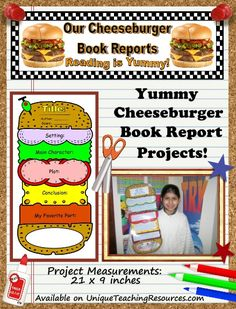 This uniquely shaped cheeseburger book report project contains assembling directions, first draft worksheets, final draft templates, grading rubric, and a matching bulletin board banner. Book Report Projects, Reading Projects, Book Projects, Teaching Social Studies, Teaching Resources, Third Grade Reading, Second Grade, Grade 1, Book Report Templates
