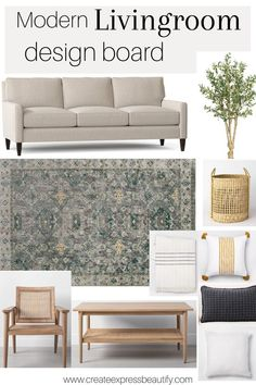 Are you looking to makeover or refresh your living room? But feeling stuck and frustrated trying to create a beautiful space? Check this gorgeous modern living room design board for inspiration. Beautiful Living Rooms, Living Room Modern, Rugs In Living Room, Living Room Designs, Living Room Decor, Beautiful Space, Family Room Decorating, Farmhouse Style Decorating, Farmhouse Decor