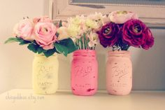 Pink Lemonade Decor, 3 Painted Mason Jars, Wedding Centerpiece Decor,Baby Shower ,Yellow and  Pink,Vase,Girl Birthday,Shabby Decor on Etsy, $15.00