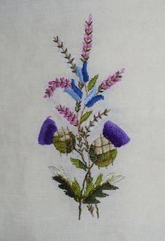 Vintage Linen Tea Towel - Embroidered Thistle Pattern. $7.00, via Etsy.
