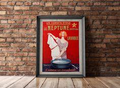 Vintage Poster Print - Antique French Poster - Early 20th C. - European Advertisement Art - Les Corsets etoile Le Neptune
