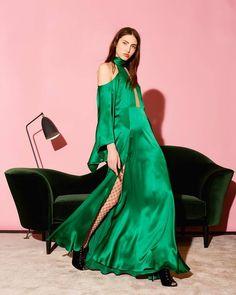 03baf4bd0c40 Space Style Concept Collezione FW Abito Elegante Donna Abito cerimonia  Verde ABITO IN SETA Abito in