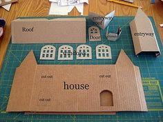 Una casita con una caja de cereales. con tutorial