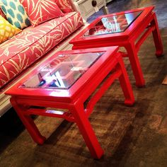 we could find coffee or side tables like these at a thrift store and paint them a bright, glossy color- via I Suwanne