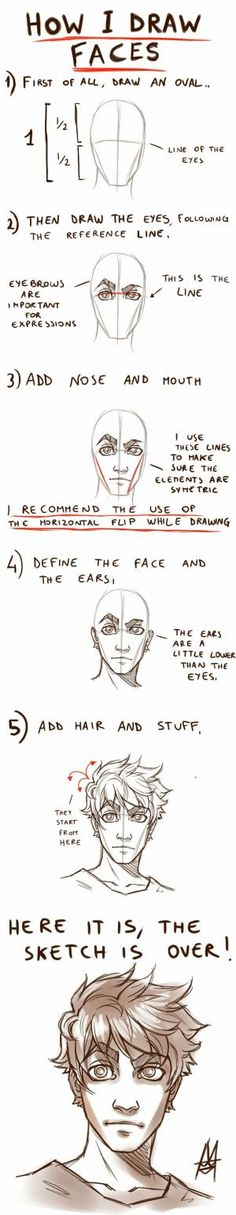 Tutorial HOW TO DRAW A FACE by *MauroIllustrator on deviantART by Alexannot
