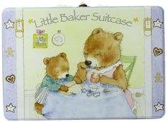 Child to Cherish Little Baker Suitcase, Blue. Food grade tin suitcase. High quality Child to Cherish apron, solid wood spoon and rolling pin, 3 cookie cutters and 5 recipes. Enjoy baking with your child or grandson.
