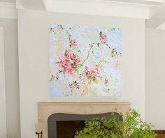 Coral Flower Oil Painting Print Canvas Beige by ForestSandandAir