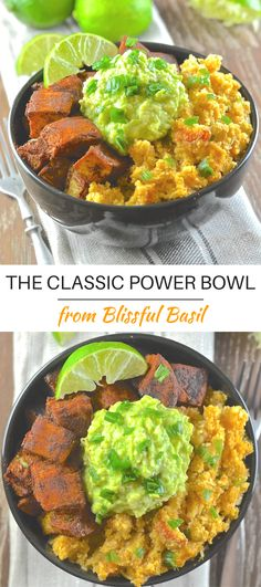 Find your bliss with The Classic Power Bowl from Blissful Basil. Spicy cauliflower rice, warming sweet potatoes & garlicky avocado mash. via @avirtualvegan