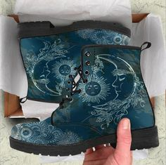HandCrafted Sun and Moon Boots Crazy Shoes, Me Too Shoes, Women's Shoes, Shoes Sneakers, Dr. Martens, Vegan Boots, Moon Boots, Christian Louboutin, Painted Clothes