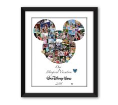Mickey Minnie Mouse Ears Disney Inspired Custom Photo Collage Wall Art Home Decor Fan Art Vacation Digital Printable Disneyland