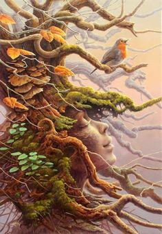 """be a tree"" – a grounding exercise for children green man, earth goddess Fantasy Kunst, Fantasy Art, Art Et Nature, Heart In Nature, Nature Spirits, Illustration Art, Illustrations, Fairy Art, Green Man"