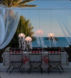 A very peaceful and calm sort of home decorating style. It brings the sea and some realistic home decoration ideas together for a magical effect.