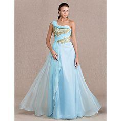Free Measurements ! Sheath/Column One Shoulder Floor-length Chiffon Evening/Prom Dress (742580) – AUD $ 230.61