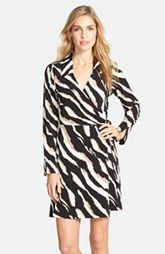 Laundry by Shelli Segal Zebra Print Jersey Faux Wrap Dress (Online Only)