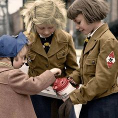 Young German girls take part in Hitler Youth activities.