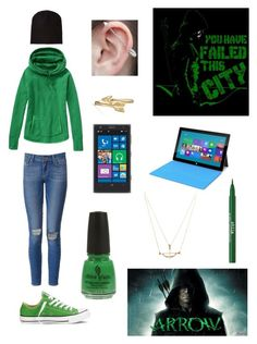 Arrow Fan Girl by makaylla-alexander on Polyvore featuring Athleta, Paige Denim, Converse, Bling Jewelry, Alexander Wang, Stila, China Glaze and Nokia