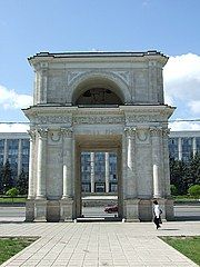 Moldova: The bell tower stands in Cathedral Park between Nativity Cathedral (above) and the Triumphal Arch.