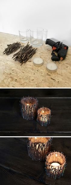 DIY lys med grene / wood candles