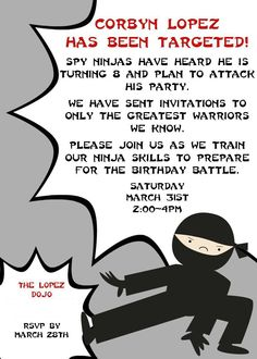 ninja+birthday+invites | Here was the invite I created on the computer and had printed at ...