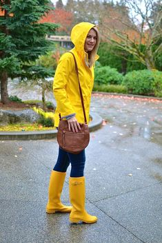 A yellow rain jacket can brighten up a dreary day. I recommend pairing it was denim and hunter boots to keep you nice and warm.