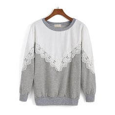 SheIn(sheinside) White Grey Round Neck Lace Loose Sweatshirt ($17) ❤ liked on Polyvore featuring tops, hoodies, sweatshirts, multicolor, gray sweatshirt, long sleeve tops, white sweatshirt, long sleeve pullover and sweater pullover