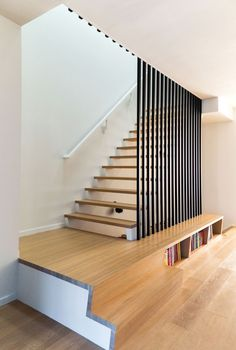 The classic, contemporary home for the bank executive was designed by Elena Del Bucchia. Staircase Design Modern, Home Stairs Design, Railing Design, Interior Stairs, Modern House Design, Home Interior Design, Contemporary Stairs, Industrial Stairs, House Stairs