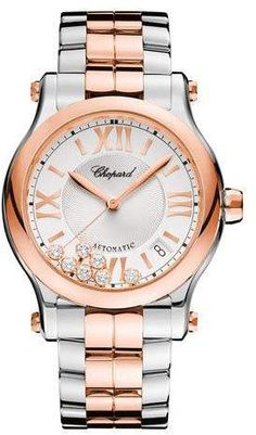 178c000d9bd Chopard 36mm Happy Sport Two-Tone Watch with Diamonds