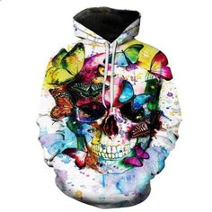 Skull Made Of Roses Death Hardcore Biker Gothic Grim Hoodie Pullover Sweatshirt