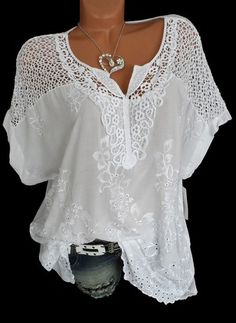 Where to buy lace blouse? NewChic offer quality lace blouse at wholesale prices. Shop cool personalized lace blouse with unbelievable discounts. Casual Tops For Women, Blouses For Women, Trendy Tops, Loose Shirts, Plus Size Blouses, Blouse Styles, Types Of Sleeves, Short Sleeves, White Short Sleeve Blouse