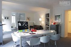 Apartment Decor – Contemporary Dining Tables as Work Desk equipped with iMac