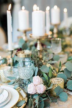 Elegant Garnet, Greenery & Gold Wedding Centerpiece