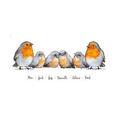Robin Family Name Print – Teenie Wee Baby Robin, Robin Redbreast, Vibrant Colors, Colours, Bird Art, First Love, How To Draw Hands, Drawings, Illustration