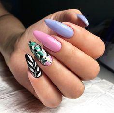 Cool long stiletto nails with colorful print Pink Nail Art, Blue Nails, Nail Art Tropical, Hair And Nails, My Nails, Long Stiletto Nails, Fall Acrylic Nails, Super Nails, Flower Nails