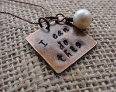 """Women's Handmade Hand Stamped Metal Copper """" I Can Do This """" Pendant Necklace 