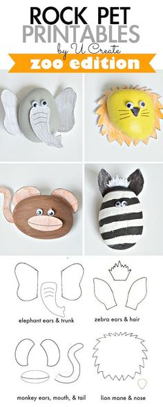 Pet Printables: Zoo Edition Rock Pet Printables: Zoo Edition paint, color, cut and glue for an instant rock pets!Rock Pet Printables: Zoo Edition paint, color, cut and glue for an instant rock pets! Vbs Crafts, Rock Crafts, Crafts To Do, Crafts For Kids, Arts And Crafts, Craft Activities For Kids, Projects For Kids, Craft Projects, Pet Rocks