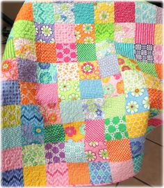 Baby Girl Quilt Giggles Mix Patchwork Scrappy by CarleneWestberg, $139.00  on  Etsy- gorgeous baby quilt.