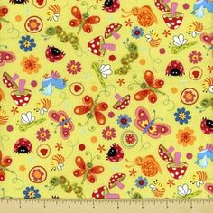 This is just another lovely print covered in an adorable array of butterflies , caterpillas, mushrooms , birds,ladybugs and more tossed across a bright green background. Use this print on endless future kids projects  This Bugs print is yet another irresistible assortment of fabric patterns and prints that we have here at Universal ideas.