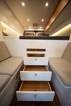 Ready Set Van - Custom Adventure Vans for Off-Grid Living - VanLife Tesla Power, Electric Van, Fold Up Beds, Retractable Door, Slider Window, Ram Promaster, Full Size Mattress, Stainless Sink, Walnut Dining Table