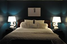 "(Bedding not done, but this gives you feel for color.) Benjamin Moore, ""Dark Harbor.""  Brand new color!!"