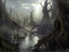 Swamp, Mathias Zamęcki on ArtStation at https://www.artstation.com/artwork/swamp-2982ce98-978a-4ff6-ab34-a08690cbec39